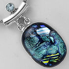 Dichroic Glass & Blue Topaz 925 Sterling Silver Pendant Jewelry SDP9041