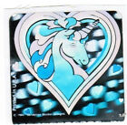 Vintage 1984 Copyright Sandylion mint 2x2 sticker foil hologram Heart Unicorn