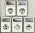 2011 S Silver Quarter 5 Coin Proof Set NGC PF70 UC America The Beautiful ATB 25C