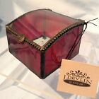 J Devlin Glass Box Red Amber with Clear Curved Lid 325 x 35 x 25  3499