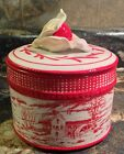 FITZ & FLOYD TOWN & COUNTRY RED WHITE ROUND LIDDED BOX WINTER COUNTRY MILL BARN