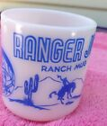 Vintage 1950s Blue Hazel Atlas RANGER JOE RANCH Mug Milk Glass 6 oz - Cowboy