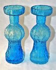 ~ Mid Century Modern PAIR (2) Blue ART GLASS CANDLE HOLDERS 8