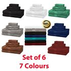 6 Piece Bath Towel Set Washcloths Hand Luxurious Towels 100% Cotton 7 Colours