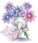 Elephant Bella Flowers Clear Unmounted Rubber Stamp Wild Rose Studio  CL226 New