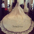 Antique Off White Vintage Ivory 4 M Wedding Veil 1T Beaded Cathedral Long Lace