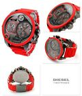 DIESEL Mr Daddy Grey Four Time Zone Dial Red Silicone Men's Watch DZ7279
