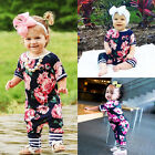US Stock Infant Kids Baby Girls Floral Short Sleeve Romper Jumpsuit Outfit NEW