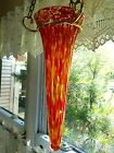 Murano style Hanging Vase in Yellow Red and Clear Glass