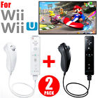 2 PCS Remote and Nunchuck Controller Set Combo + Case Skin For Nintendo Wii Game