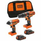 BLACK+DECKER 18 V Lithium-Ion Hammer Drill and 18 V Impact Driver with Storage 2