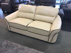 EMILY 3 Seater Ivory Cream Leather Sofa CLEARANCE EX DISPLAY
