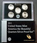 2011 S SILVER PROOF NATIONAL PARKS QUARTER SET FIVE ULTRA CAMEOS WITH BOX COA