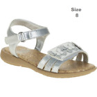 Faded Glory Toddler Girls Butterrfly Sandal Silver 8