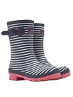JOULES MOLLY WELLY WOMENS MID RAIN BOOTS NAVY MINI STRIPE US 7 EU 38