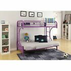 Eclipse Metal Frame Kids Child Twin Bed Over Full Futon Couch Bunk Bed Purple