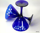 Antique Libbey Cobalt Blue Hand Painted White Flowers Martini Glasses Signed