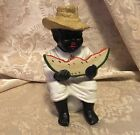 Vintage Porcelain American Black Man Statue Figurine Eating Watermelon Folk Art