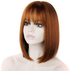 Bob Wigs Short Straight Wigs With Bangs Kanekalon Heat Resistant Wig Red Brown