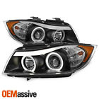 Fit 2006 2008 BMW E90 3 Series 4Door Black Halo LED Projector Eye LId Headlights