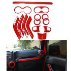 14pcs Red Inner Decoration Cover Trim for 11-17 Jeep Wrangler Unlimited 4 Door