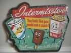 EMBOSSED DRIVE IN MOVIE Intermission SIGN Theater Cinema Popcorn Coke Cola Candy