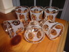 6 MID CENTURY G REEVES GOLD LAUREL WREATH W/ CROWN LIBBEY FROSTED SHOT GLASSES