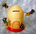 VINTAGE ANTIQUE BUMBLE BEE BEEHIVE COIN BANK PORCELAIN....VERY COOL