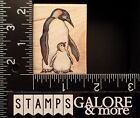 RUBBER STAMPEDE USED RUBBER STAMPS A822D PENGUIN MOTHER AND BABY ANIMAL BIRD