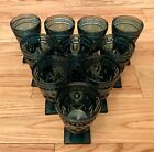 Indiana Colony Glass Park Lane Teal Blue Set of 10 Water Glasses 5-3/8