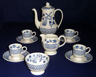 VINTAGE WEDGWOOD AVOCADO BLUE PATTERN COFFEE POT SET
