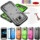 Heavy Duty Hybrid Armor Case Rugged Phone Cover +Tempered Glass Screen Protector