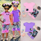 US Stock Toddler Kids Baby Girls Outfits T shirt Tops Pants 2pcs Set Clothes NEW