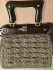 Vintage 1940s beige crochet raffia hand bag purse with wood handle *