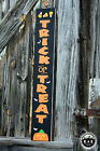 LARGE Rustic Wood Sign Trick or Treat FALL Harvest HALLOWEEN Primitive Farmhouse