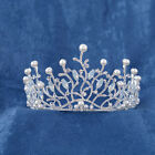Vintage Wedding Bridal Crystal Pearl Silver Black Crown Tiara Headband Headpiece