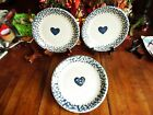 3 USED FOLK CRAFT TIENSHAN HEARTS BLUE SPONGE DINNER PLATES 10 1/4