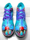 SOLETECH Hand Painted Leather Comfy Funky Vibrant Color Ankle Shoe Women US 5