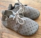 Zuzii Gray polk dot Suede Leather Baby Moccasins Shoes Size 5 oxford