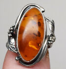 Vintage Baltic Amber Ring 925 Sterling Silver Oval Cabochon Leaves