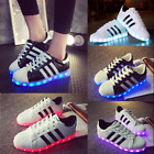 New 7 LED Light USB Lace Up Sneakers Sportswear Striped Luminous Casual Shoes