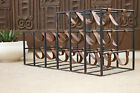 MID CENTURY MODERN IRON AND LEATHER WINE RACK 1960S CALIFORNIA MODERN EAMES