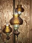 Vintage Retro Mid Century Tension Pole Lamp 3 Amber Quilted Hurricane Shades A+