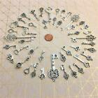 41 New Antique Look Silver skeleton key steampunk altered art bulk lot charm A1F