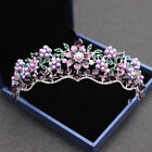 2018 Vintage Queen Bridal Wedding Purple Crystal Pearl Crown Tiara Headband Prom