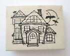 Hooks Lines  Inkers Wood Rubber Stamp Halloween Haunted House Bat 1993