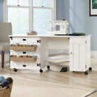 White, Drop Leaf, Home Sewing and Craft Table with Adjustable Shelving