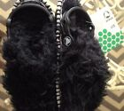 COZY School THING CROCS Black FUZZY Furry Clog Monster Shoe Kids C 13 NWT
