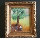 Small Enamel Painting Copper by Artist Jean Lucey Signed Vintage 7 X 6 Framed