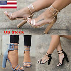 US Women High Heels Sandals Thick Open Toe Shoes Ankle Strap Sexy Kitten Heels